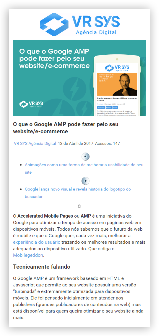 as novidades no novo site da VR SYS Agencia Digital amp screen