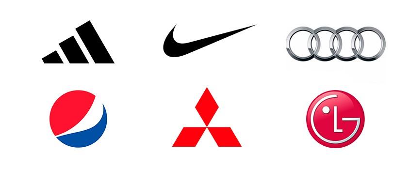 Símbolos das marcas Adidas, Nike, Audi, Pepsi, Mitsubish e LG